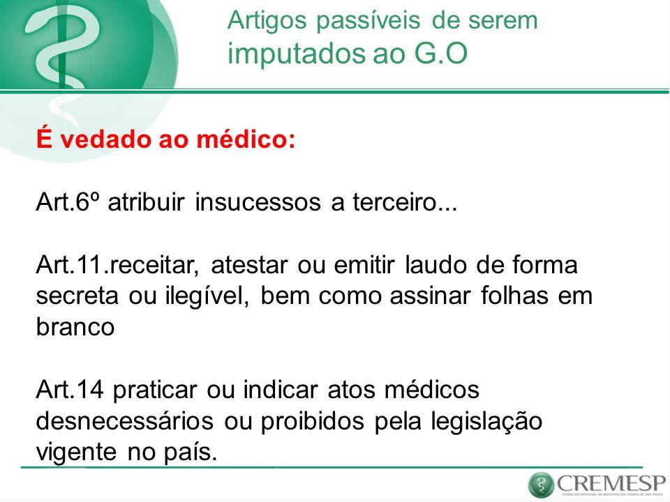 imputados ao G.O Artigos passíveis de serem É vedado ao médico:
