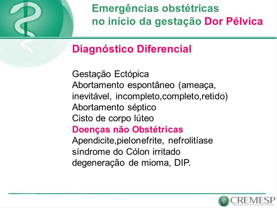 Emergências obstétricas no início da gestação Dor Pélvica
