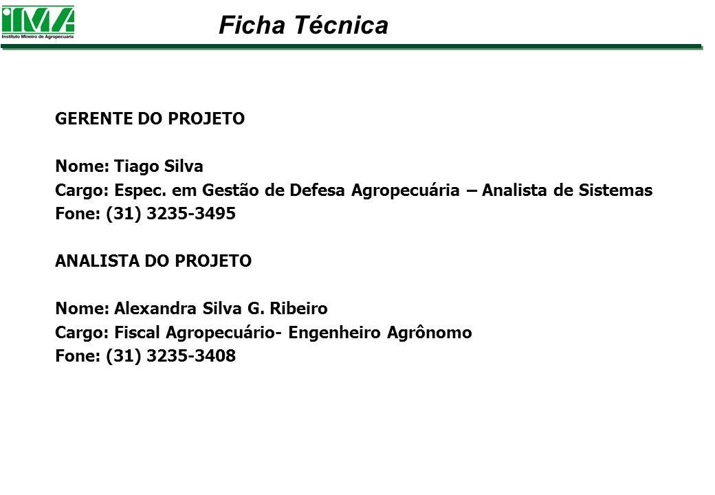 Ficha Técnica GERENTE DO PROJETO Nome: Tiago Silva