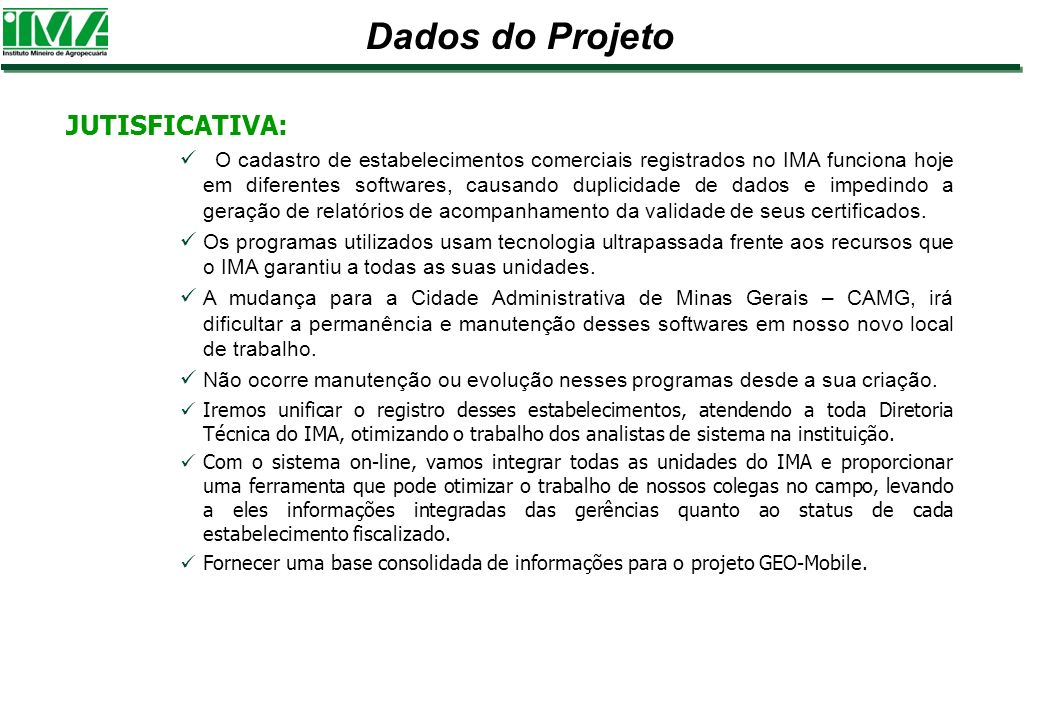 Dados do Projeto JUTISFICATIVA: