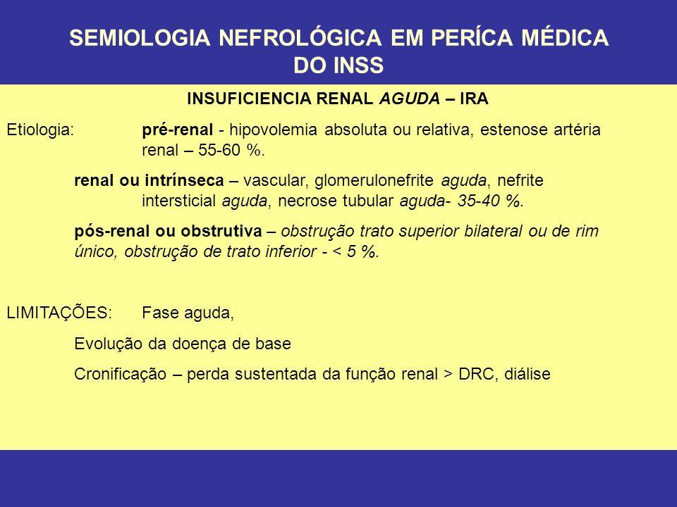 SEMIOLOGIA NEFROLÓGICA EM PERÍCA MÉDICA DO INSS