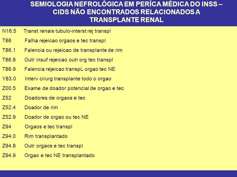 SEMIOLOGIA NEFROLÓGICA EM PERÍCA MÉDICA DO INSS – CIDS NÃO ENCONTRADOS RELACIONADOS A TRANSPLANTE RENAL