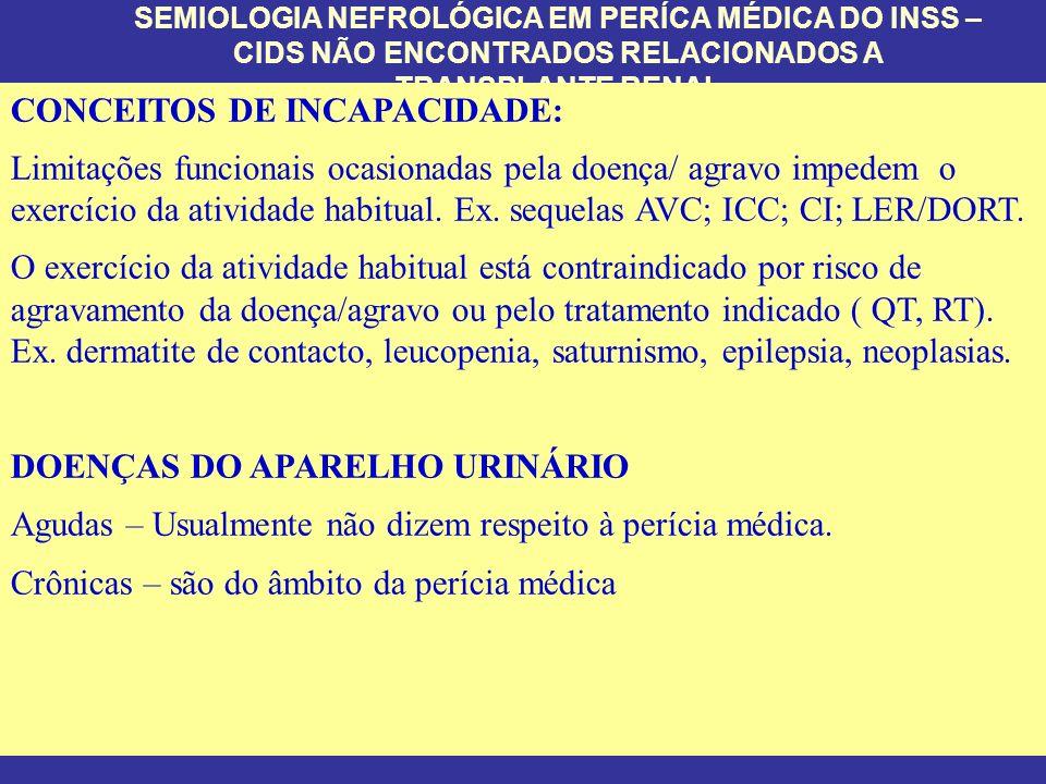 CONCEITOS DE INCAPACIDADE: