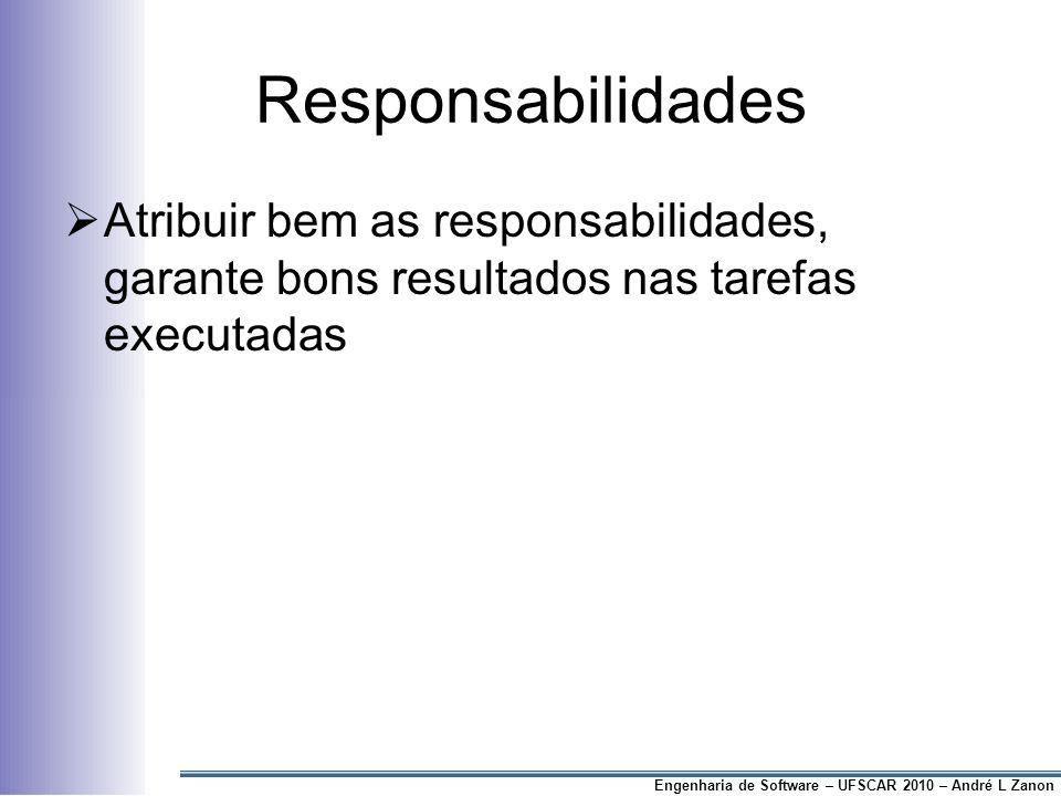 Responsabilidades Atribuir bem as responsabilidades, garante bons resultados nas tarefas executadas.