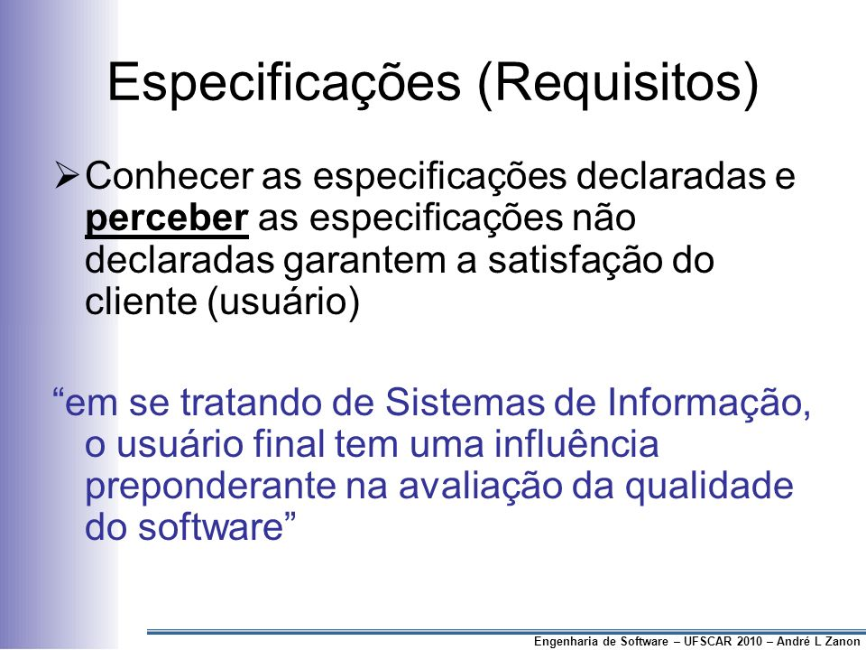 Especificações (Requisitos)