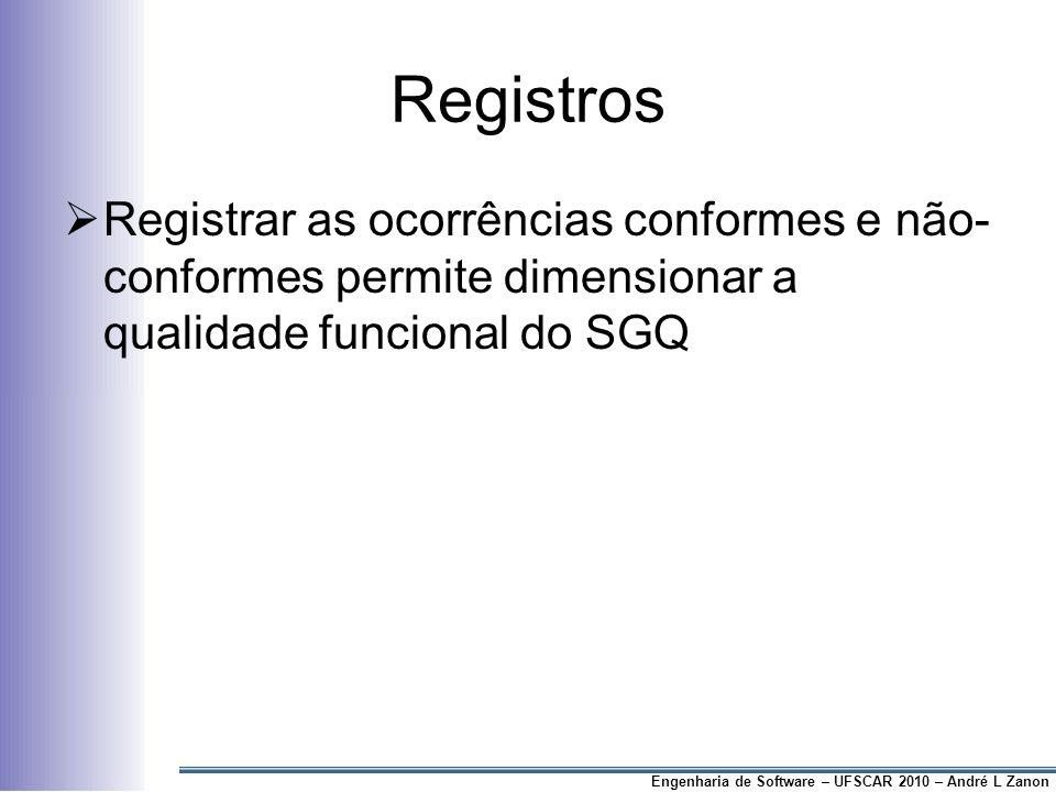 Registros Registrar as ocorrências conformes e não- conformes permite dimensionar a qualidade funcional do SGQ.