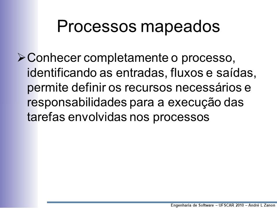 Processos mapeados