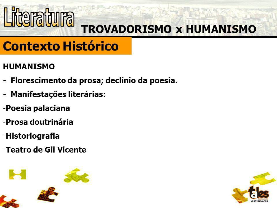 Literatura Contexto Histórico TROVADORISMO x HUMANISMO HUMANISMO