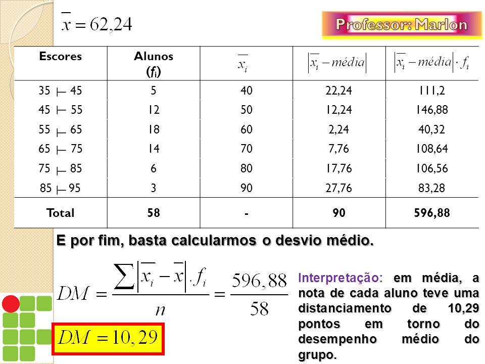 Professor: Marlon E por fim, basta calcularmos o desvio médio.