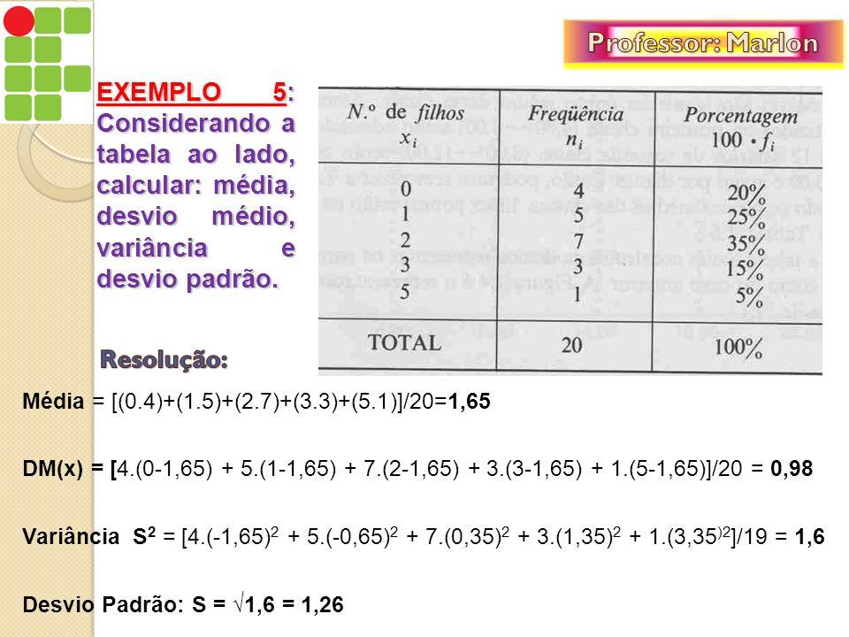 Professor: Marlon EXEMPLO 5: Considerando a tabela ao lado, calcular: média, desvio médio, variância e desvio padrão.