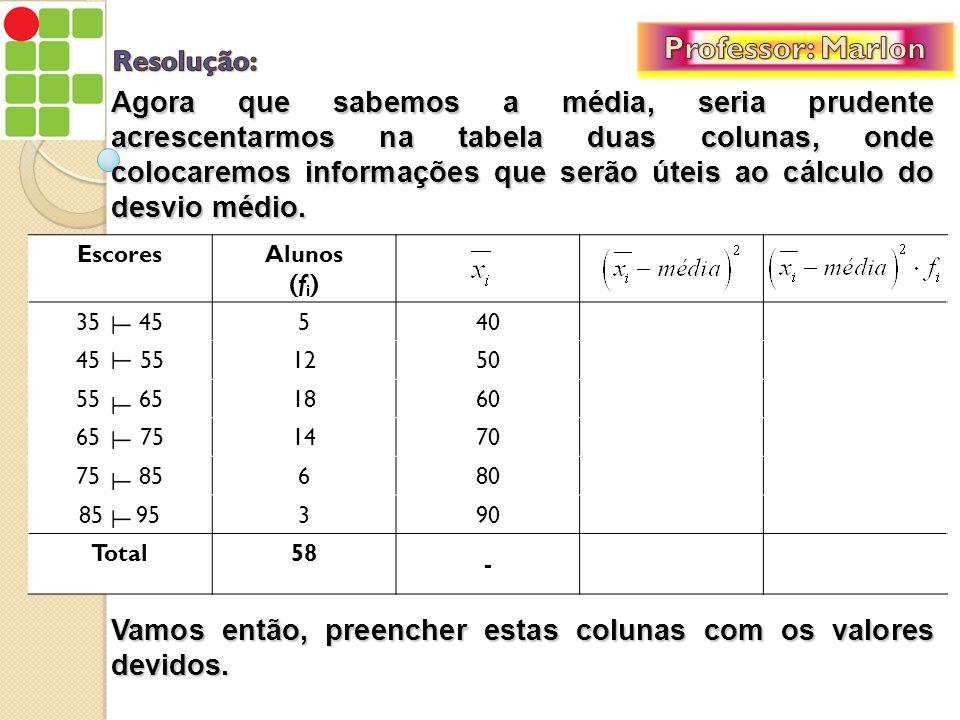 Professor: Marlon Resolução: