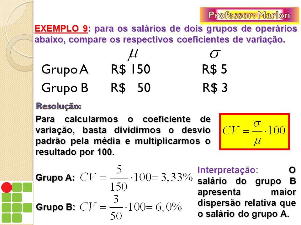 Grupo A R$ 150 R$ 5 Grupo B R$ 50 R$ 3 Professor: Marlon
