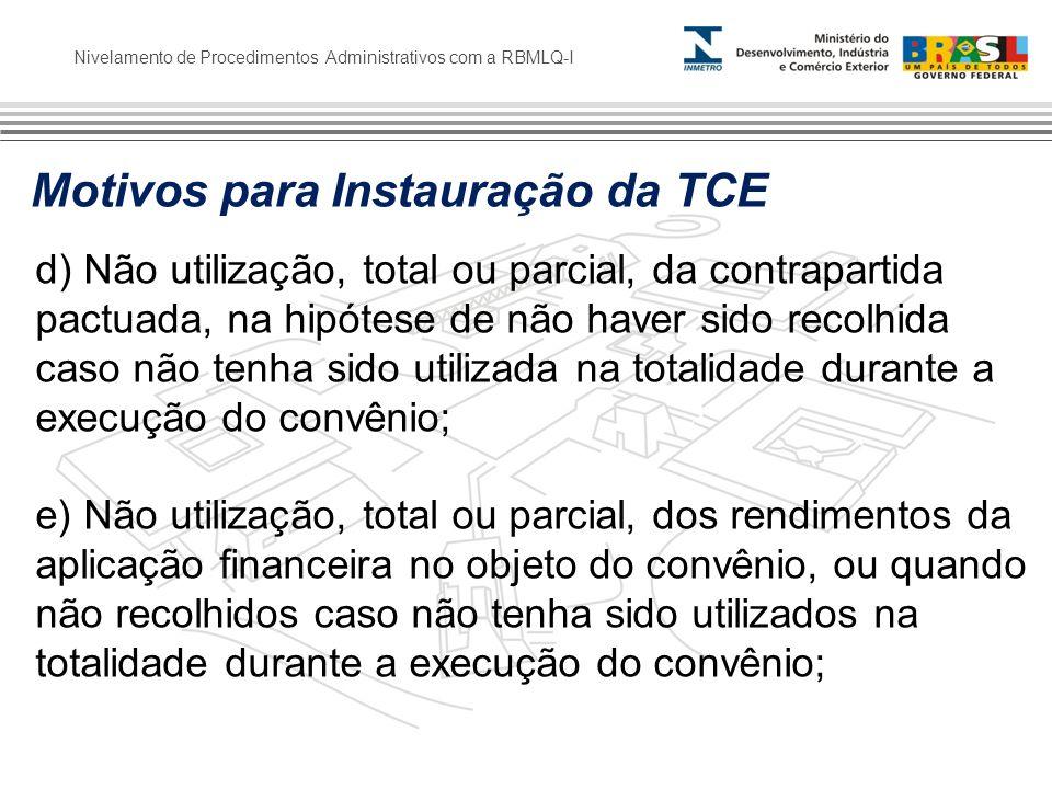 Motivos para Instauração da TCE