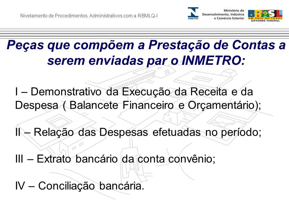 Peças que compõem a Prestação de Contas a serem enviadas par o INMETRO: