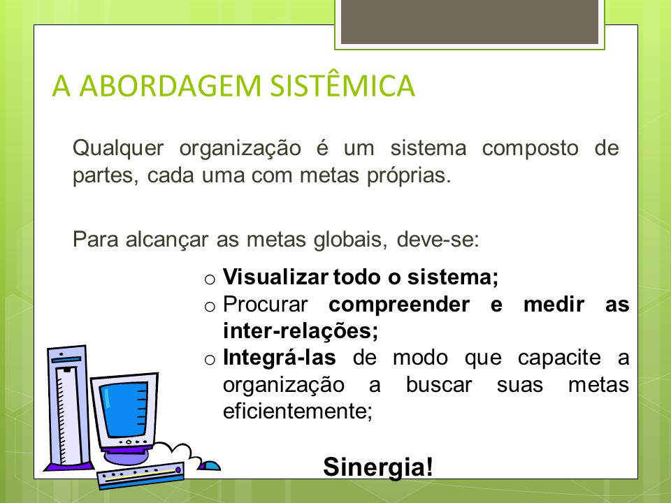 A ABORDAGEM SISTÊMICA Sinergia!