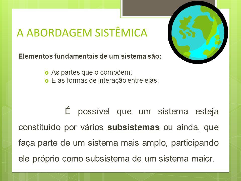 A ABORDAGEM SISTÊMICA Elementos fundamentais de um sistema são: