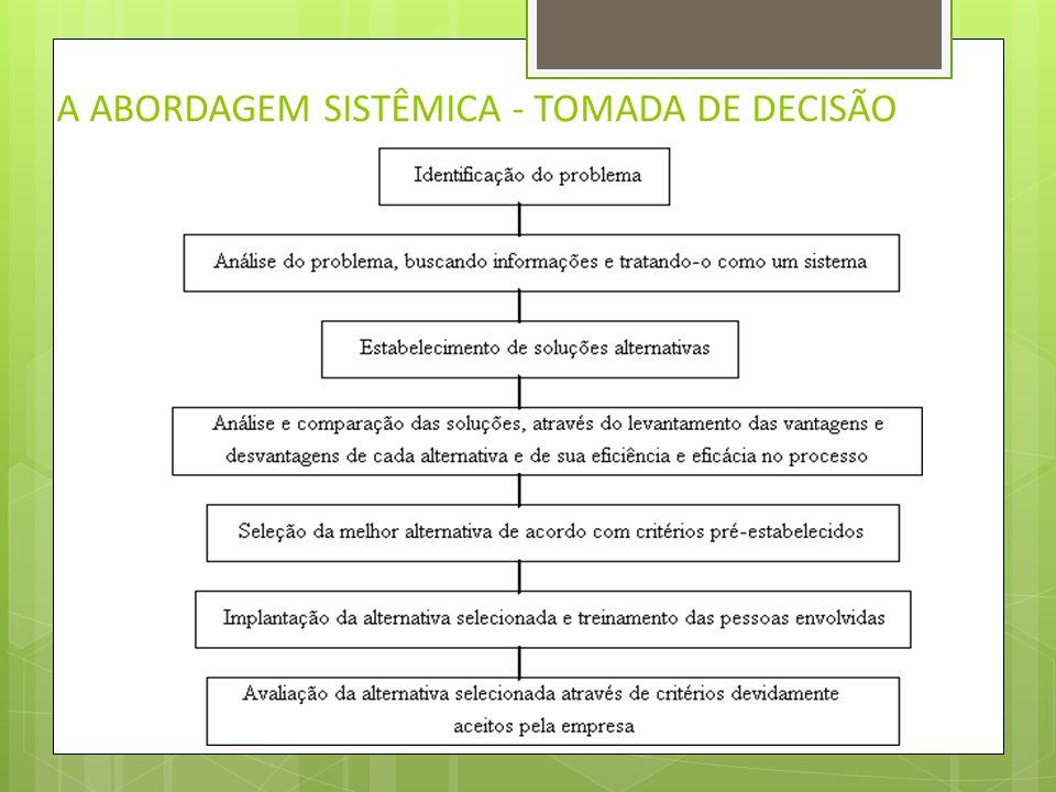 A ABORDAGEM SISTÊMICA - TOMADA DE DECISÃO