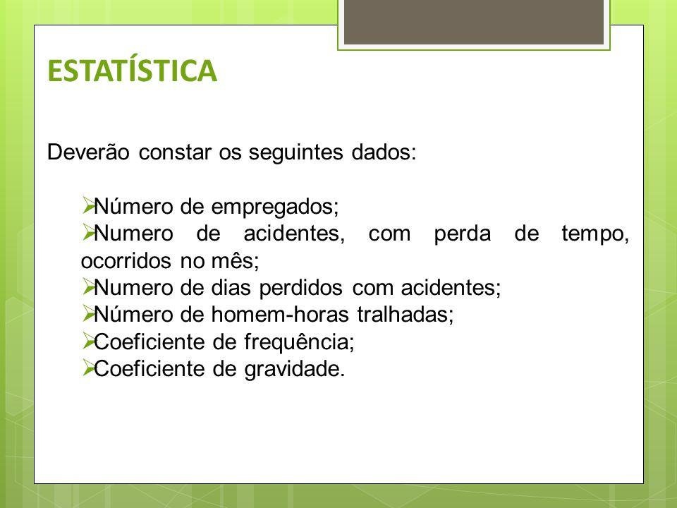 ESTATÍSTICA Deverão constar os seguintes dados: Número de empregados;