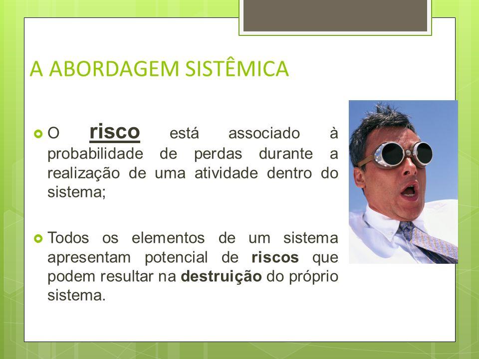 A ABORDAGEM SISTÊMICA O risco está associado à probabilidade de perdas durante a realização de uma atividade dentro do sistema;