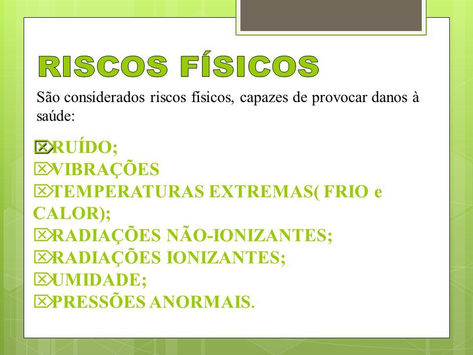RISCOS FÍSICOS RUÍDO; VIBRAÇÕES TEMPERATURAS EXTREMAS( FRIO e CALOR);