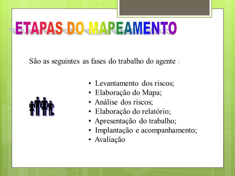 ETAPAS DO MAPEAMENTOSão as seguintes as fases do trabalho do agente : Levantamento dos riscos; Elaboração do Mapa;