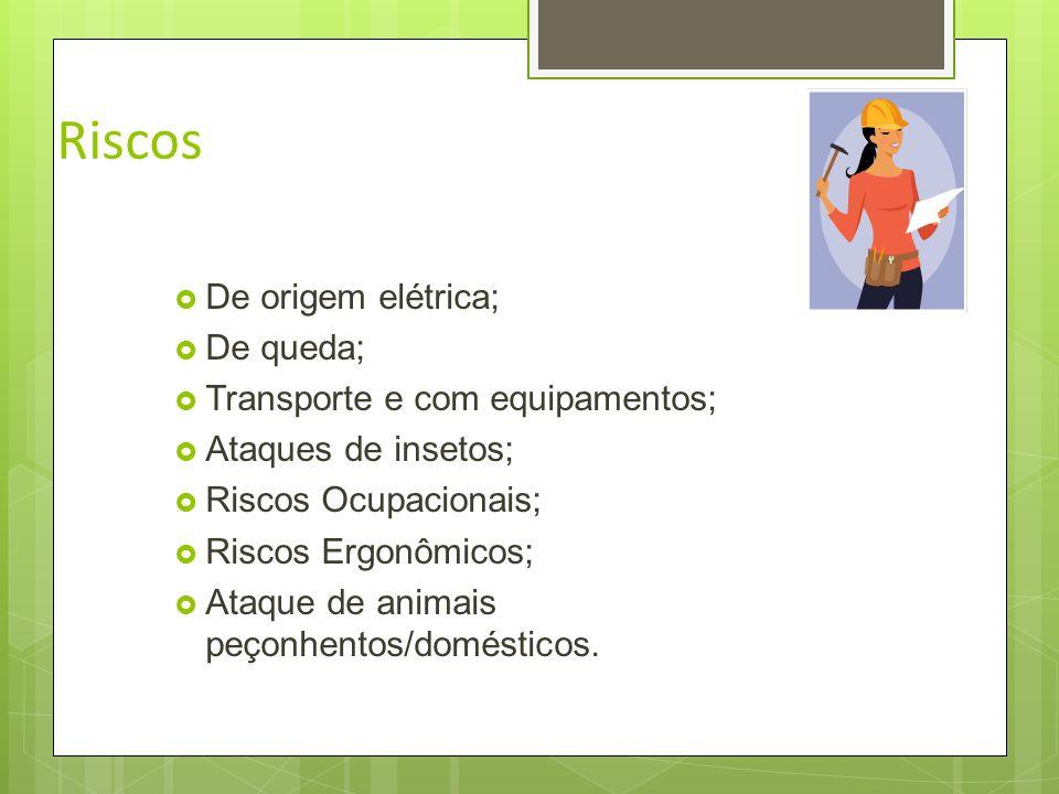 Riscos De origem elétrica; De queda; Transporte e com equipamentos;