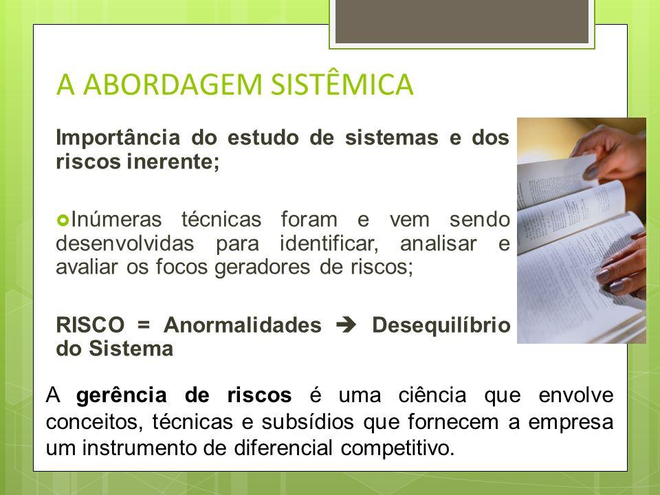 A ABORDAGEM SISTÊMICA Importância do estudo de sistemas e dos riscos inerente;