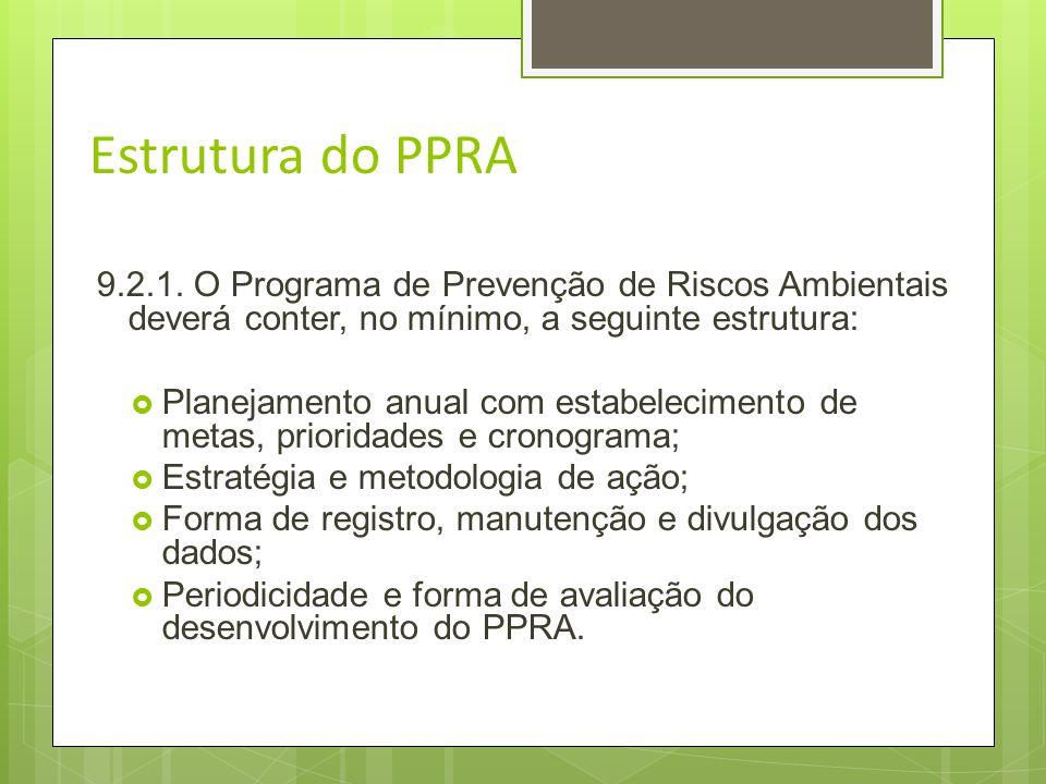 Estrutura do PPRA9.2.1. O Programa de Prevenção de Riscos Ambientais deverá conter, no mínimo, a seguinte estrutura: