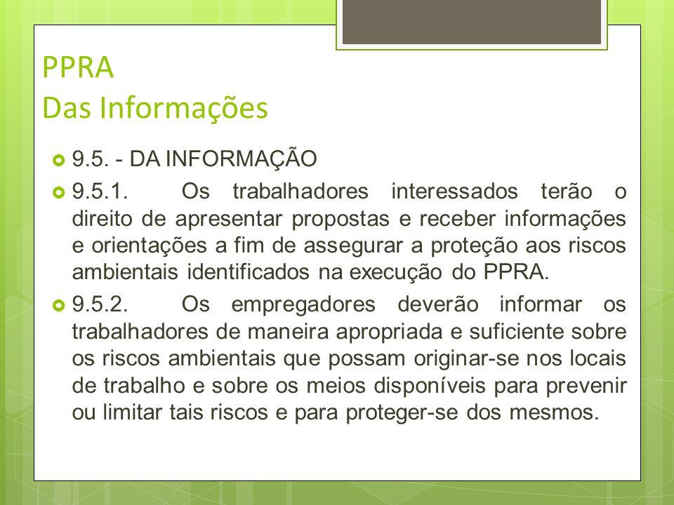 PPRA Das Informações 9.5. - DA INFORMAÇÃO