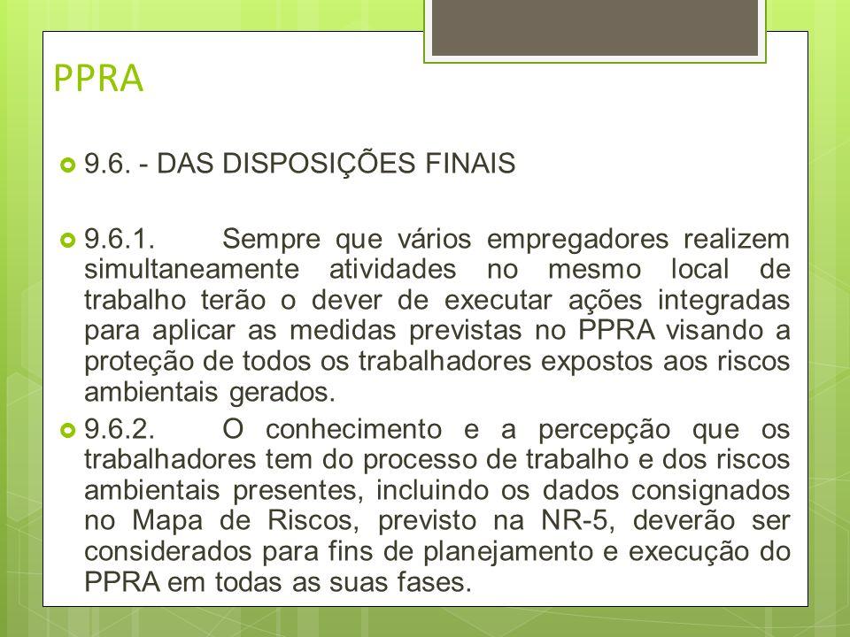 PPRA 9.6. - DAS DISPOSIÇÕES FINAIS