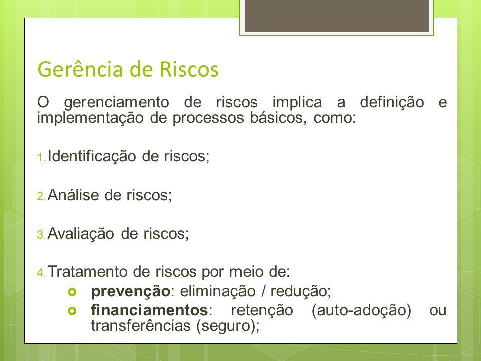 Gerência de RiscosO gerenciamento de riscos implica a definição e implementação de processos básicos, como: