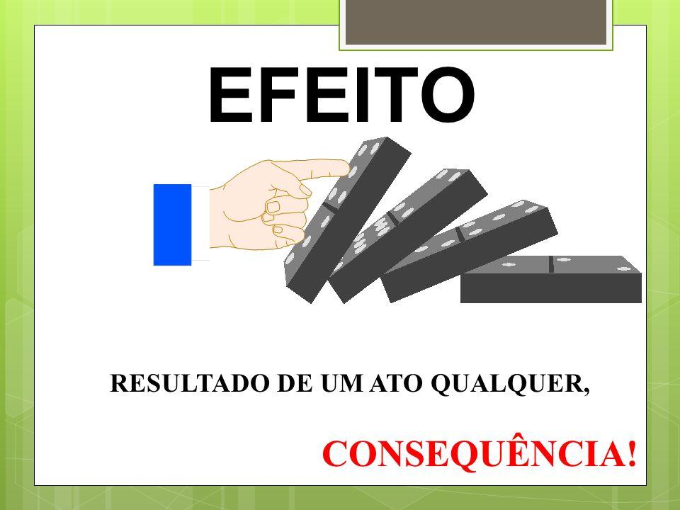 EFEITO RESULTADO DE UM ATO QUALQUER, CONSEQUÊNCIA!