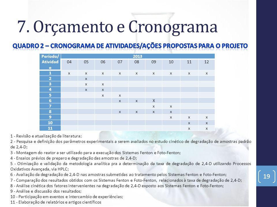7. Orçamento e Cronograma