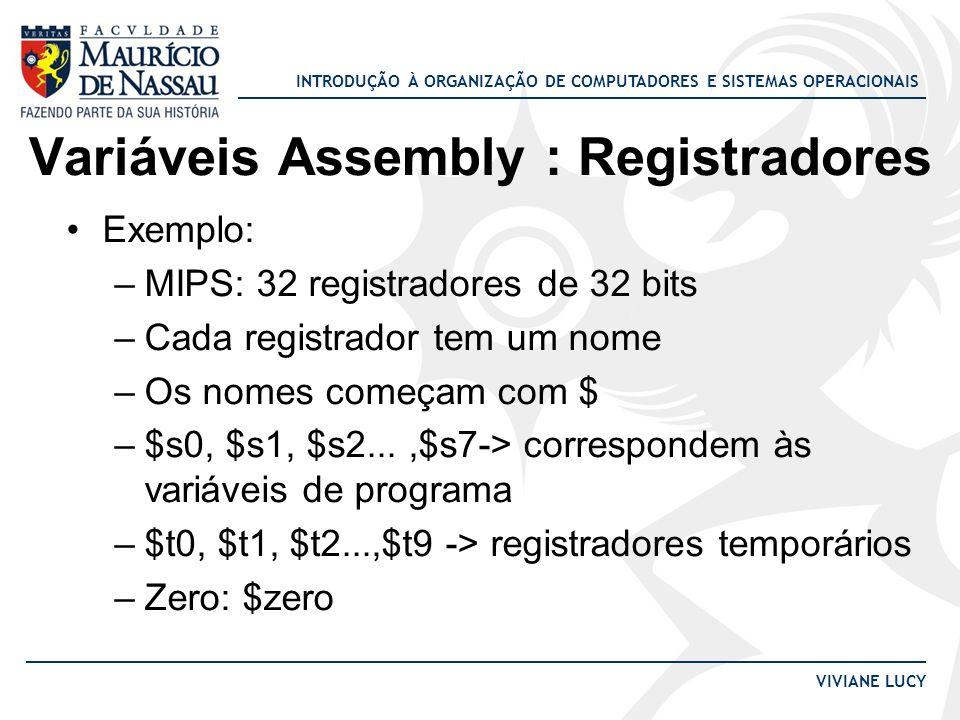 Variáveis Assembly : Registradores