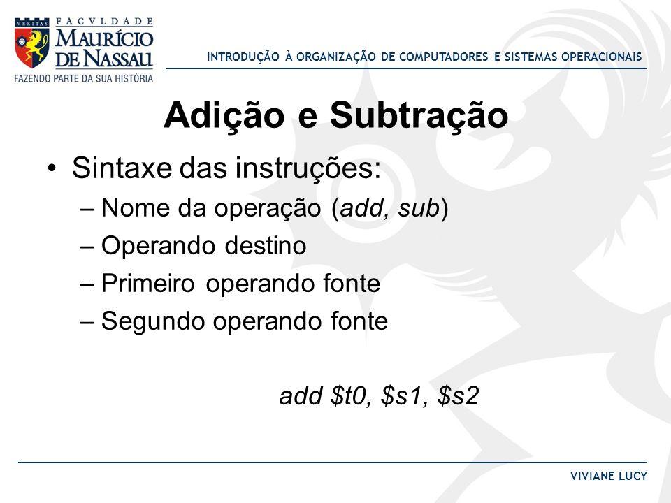 Adição e Subtração Sintaxe das instruções: Nome da operação (add, sub)