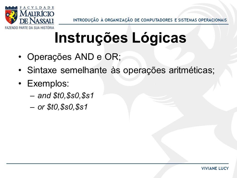 Instruções Lógicas Operações AND e OR;