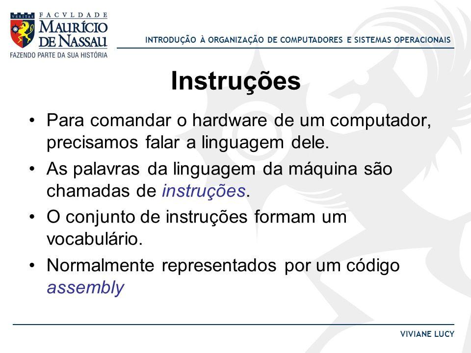 Instruções Para comandar o hardware de um computador, precisamos falar a linguagem dele.