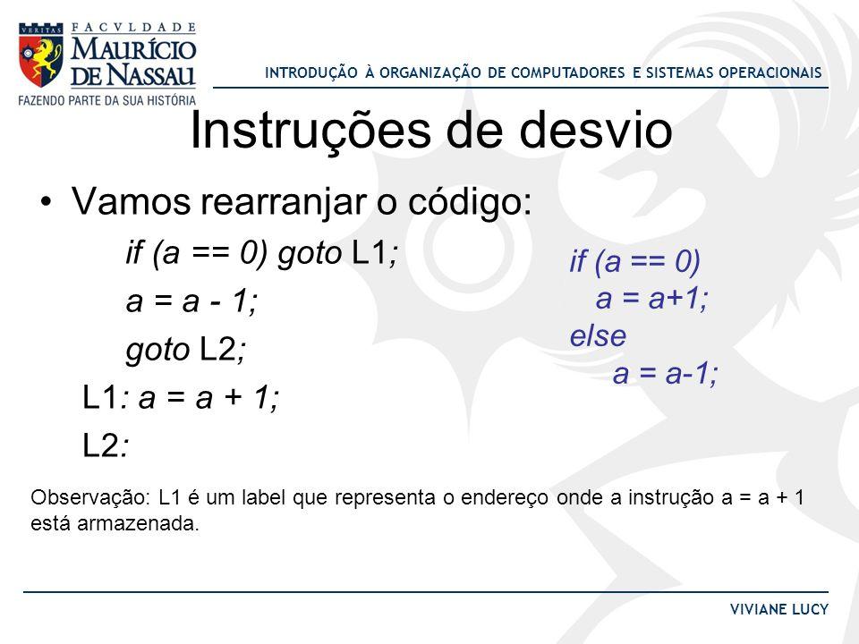 Instruções de desvio Vamos rearranjar o código: if (a == 0) goto L1;