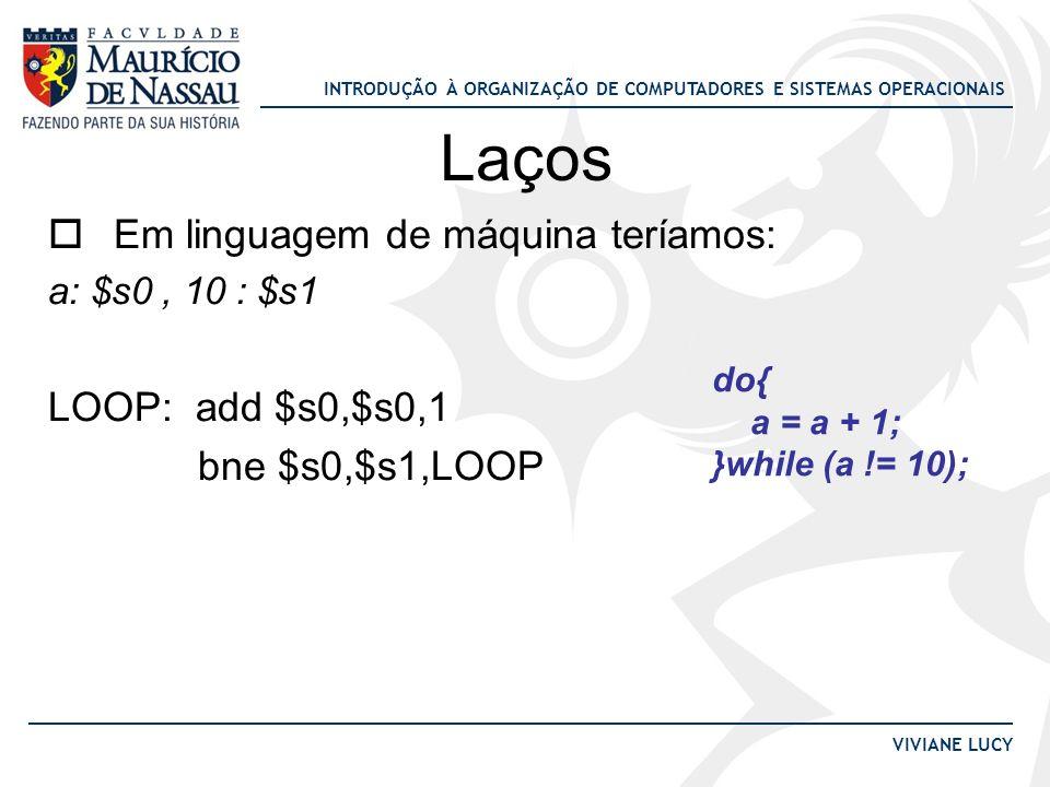 Laços Em linguagem de máquina teríamos: LOOP: add $s0,$s0,1