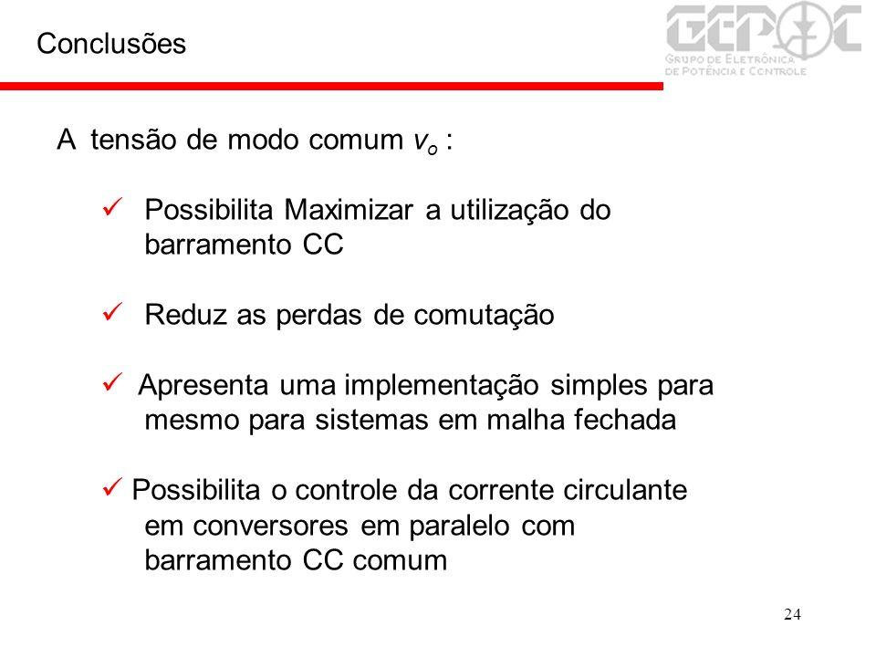 ConclusõesA tensão de modo comum vo : Possibilita Maximizar a utilização do barramento CC. Reduz as perdas de comutação.