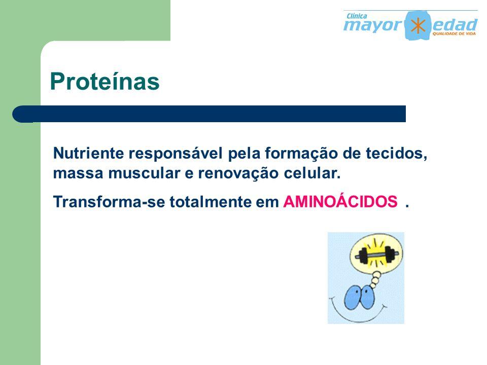 Proteínas Nutriente responsável pela formação de tecidos, massa muscular e renovação celular.