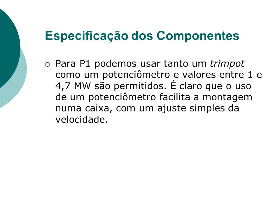 Especificação dos Componentes