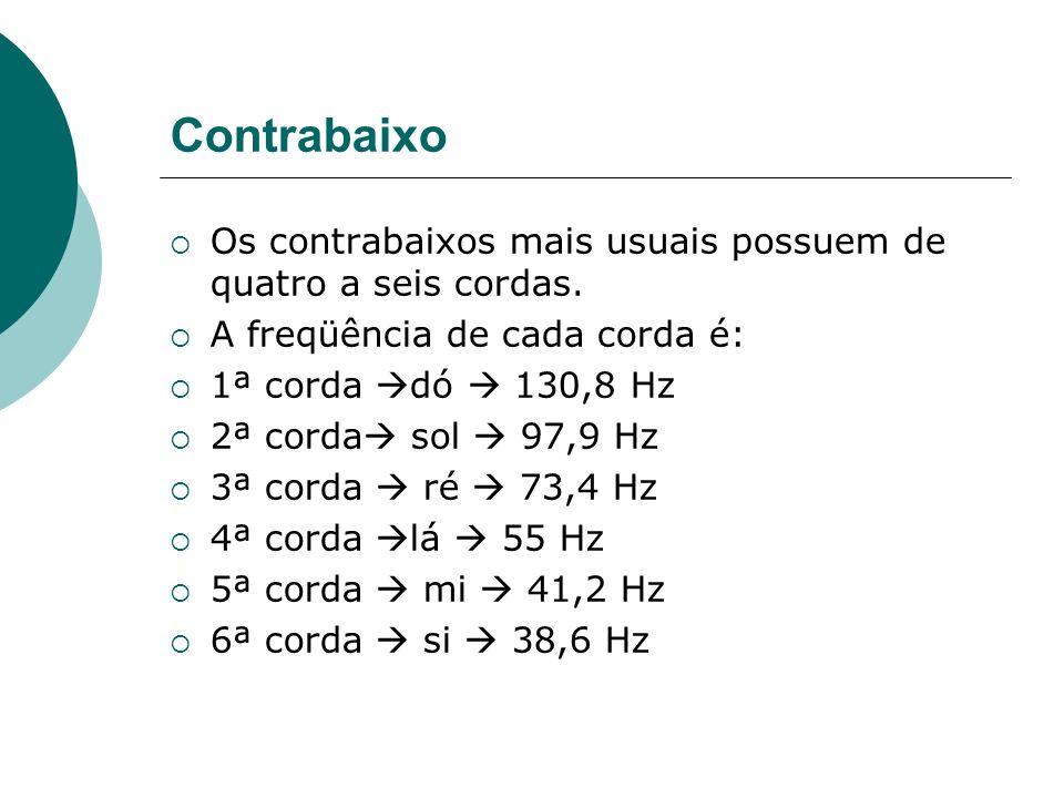 ContrabaixoOs contrabaixos mais usuais possuem de quatro a seis cordas. A freqüência de cada corda é: