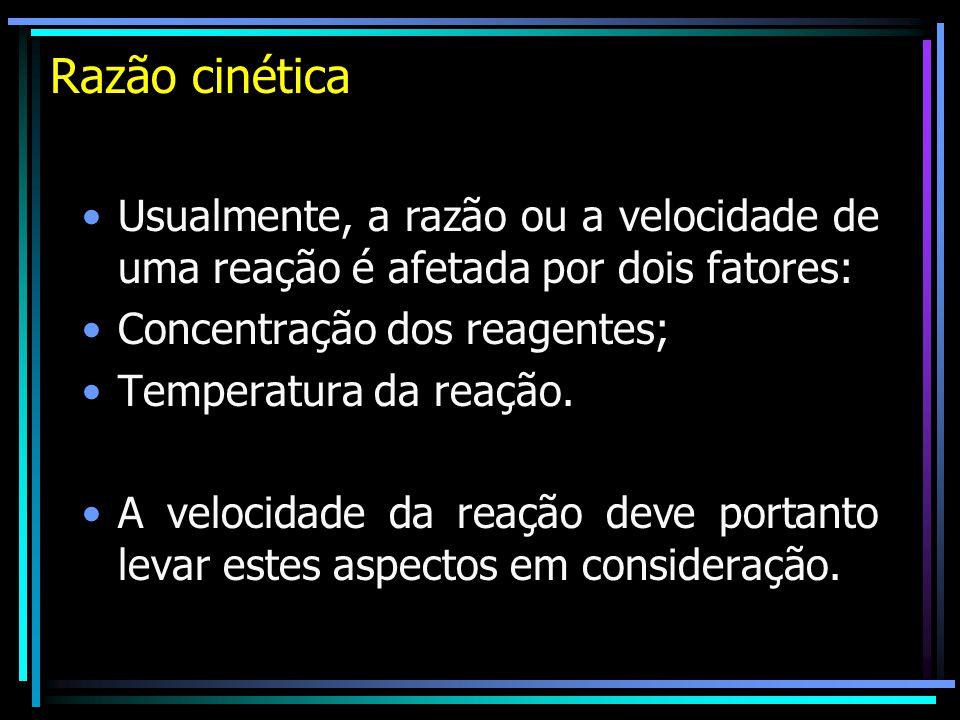 Razão cinética Usualmente, a razão ou a velocidade de uma reação é afetada por dois fatores: Concentração dos reagentes;