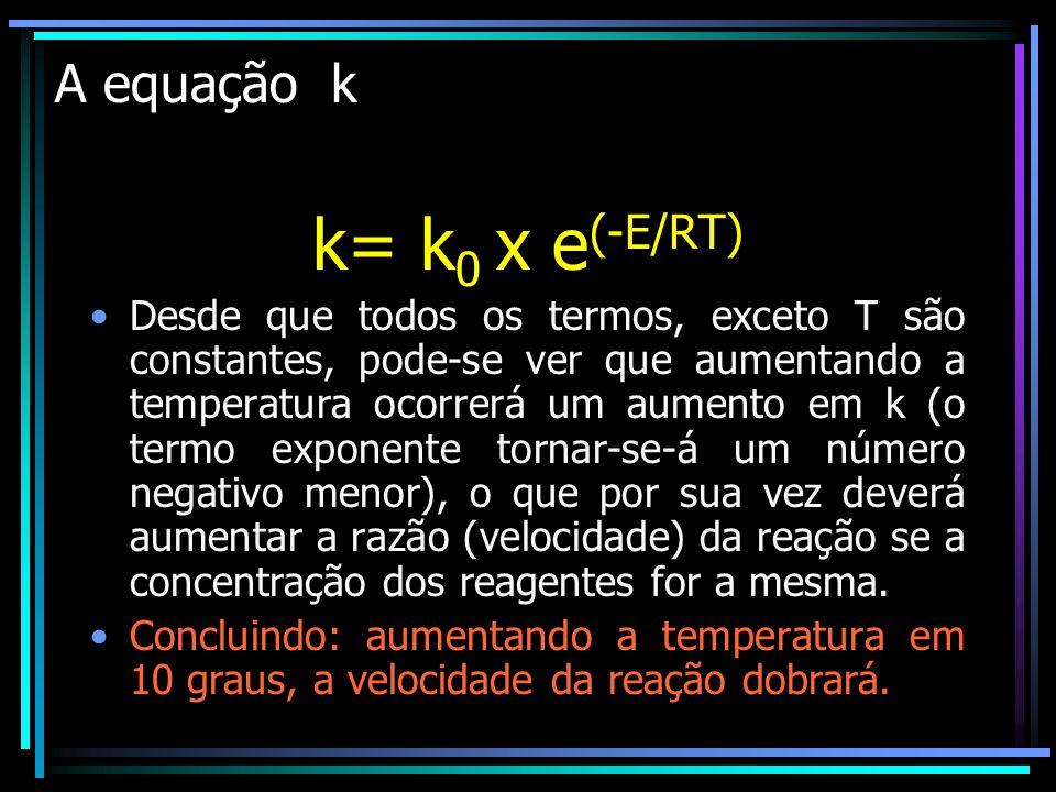 k= k0 x e(-E/RT) A equação k