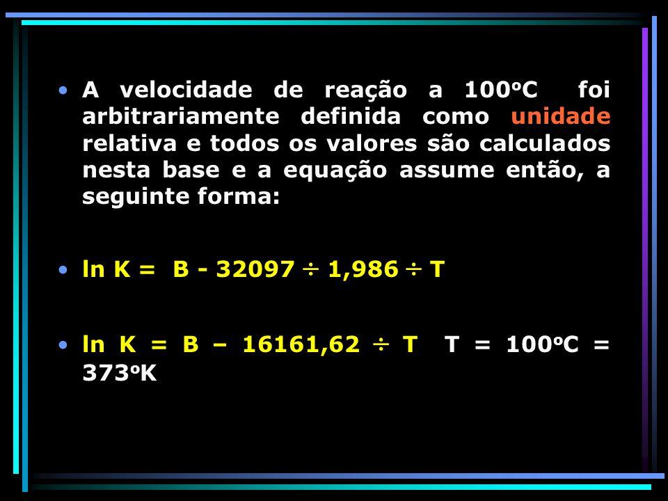 A velocidade de reação a 100oC foi arbitrariamente definida como unidade relativa e todos os valores são calculados nesta base e a equação assume então, a seguinte forma: