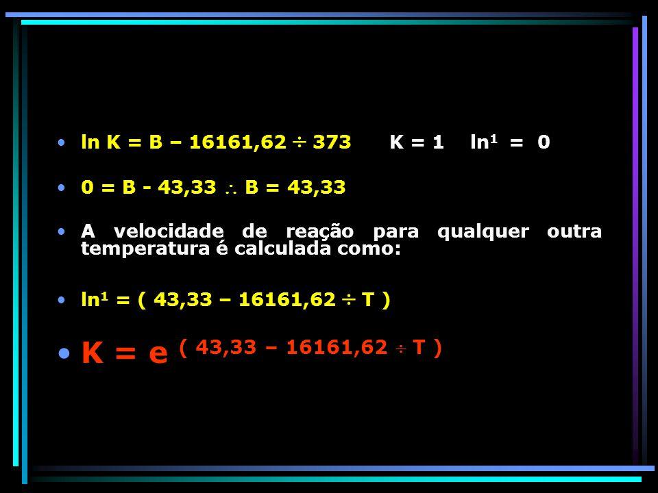 K = e ( 43,33 – 16161,62  T ) ln K = B – 16161,62  373 K = 1 ln1 = 0