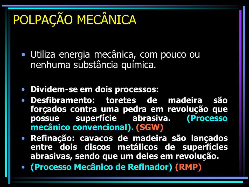 POLPAÇÃO MECÂNICA Utiliza energia mecânica, com pouco ou nenhuma substância química. Dividem-se em dois processos: