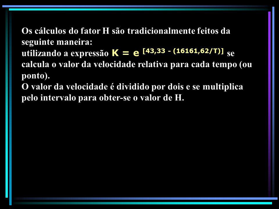 Os cálculos do fator H são tradicionalmente feitos da seguinte maneira: