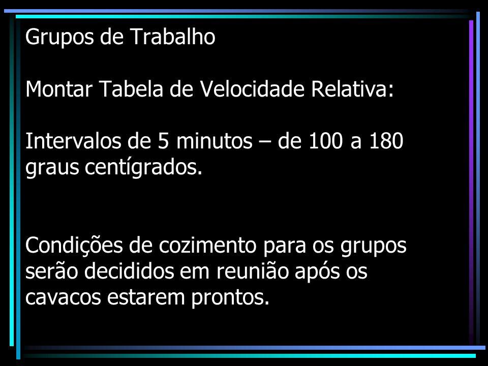 Grupos de Trabalho Montar Tabela de Velocidade Relativa: Intervalos de 5 minutos – de 100 a 180 graus centígrados.
